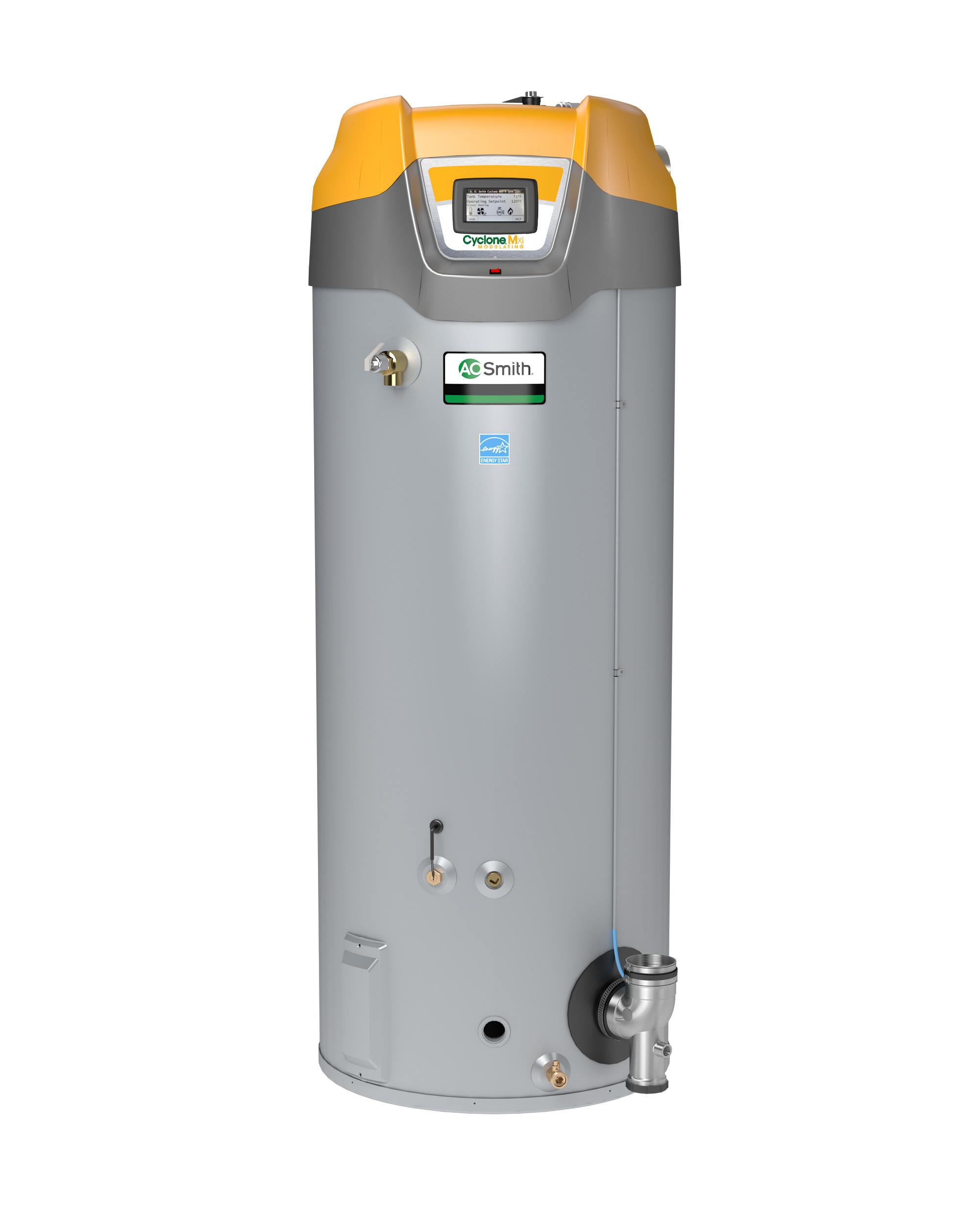 AO SMITH BTH-120-LP: 60 GALLON, 125,000 BTU, 95% THERMAL EFFICIENCY, 3inch VENT, LP (LIQUID PROPANE) CYCLONE Mxi MODULATING COMMERCIAL GAS WATER HEATER