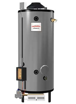 RHEEM GX90-715: 90 GALLON, 715,000 BTU, HIGH INPUT, NATURAL GAS WATER HEATER, 10inch VENT